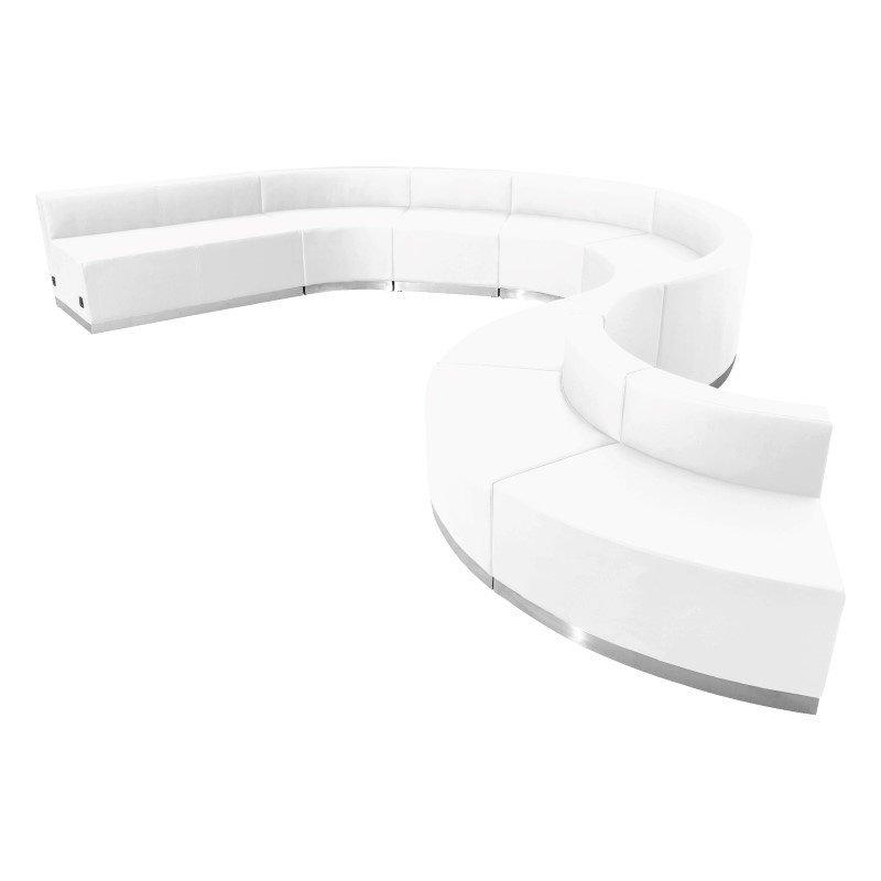 Flash Furniture HERCULES Alon Series White Leather Reception Configuration -9 Pieces