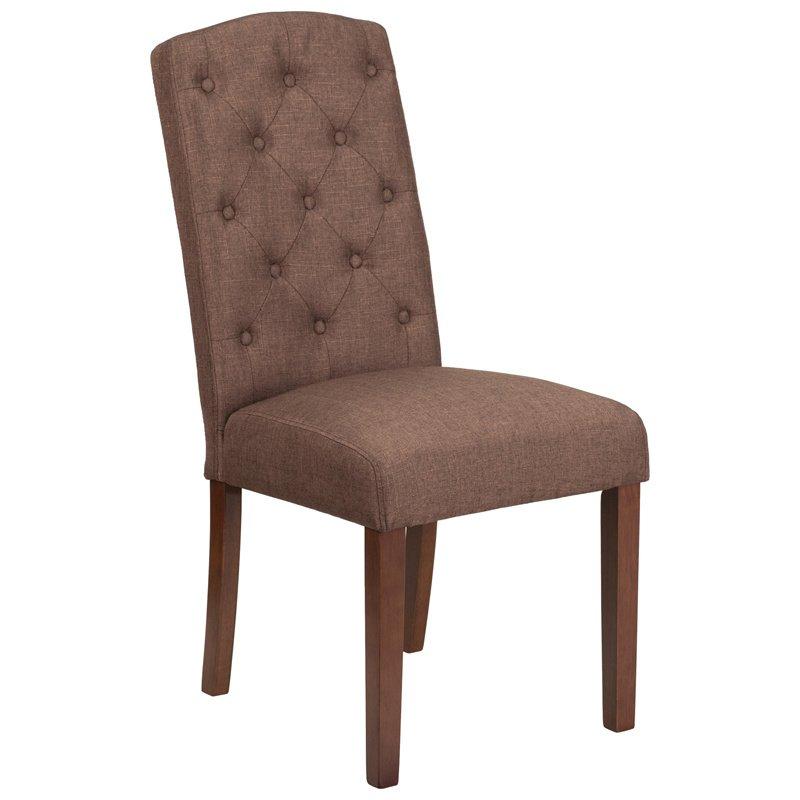 Flash Furniture HERCULES Grove Park Series Brown Fabric Tufted Parsons Chair (QY-A18-9325-BN-GG)