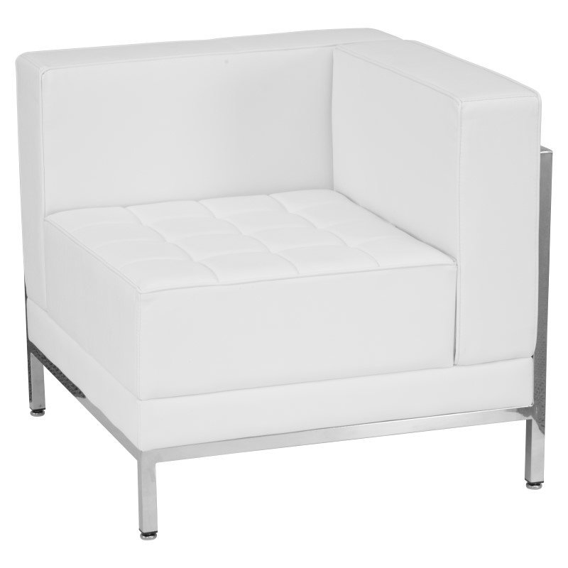 Flash Furniture HERCULES Imagination Series Contemporary White Leather Right Corner Chair with Encasing Frame