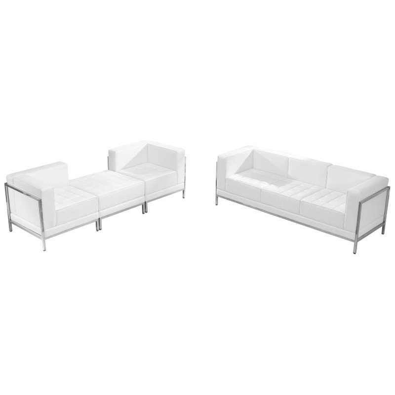 Flash Furniture HERCULES Imagination Series White Leather Sofa & Lounge Chair Set' 4 Pieces