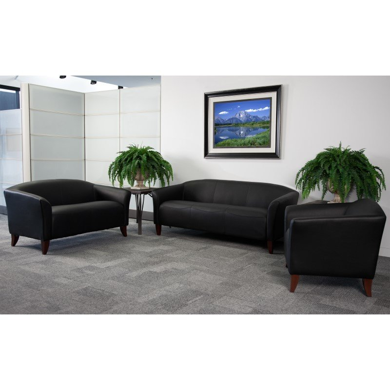 Flash Furniture HERCULES Imperial Series Black Leather Loveseat