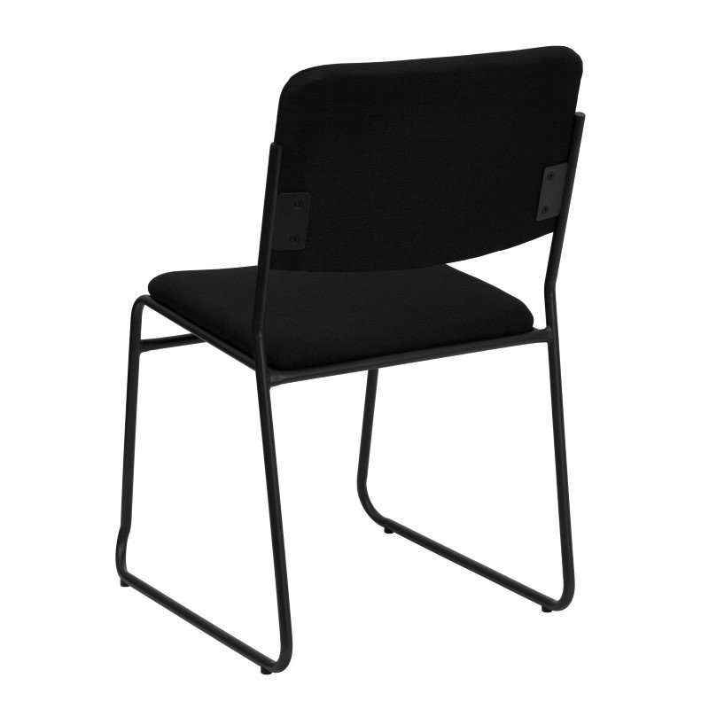 Flash Furniture HERCULES Series 1000 lb. Capacity High Density Black Fabric Stacking Chair with Sled Base