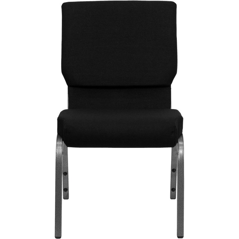 Flash Furniture HERCULES Series 18.5''W Black Fabric Stacking Church Chair with 4.25'' Thick Seat in Silver Vein Frame