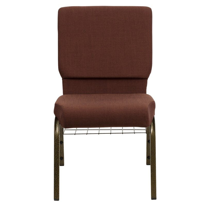 Flash Furniture HERCULES Series 18.5''W Brown Fabric Church Chair with 4.25'' Thick Seat' Communion Cup Book Rack in Gold Vein Frame