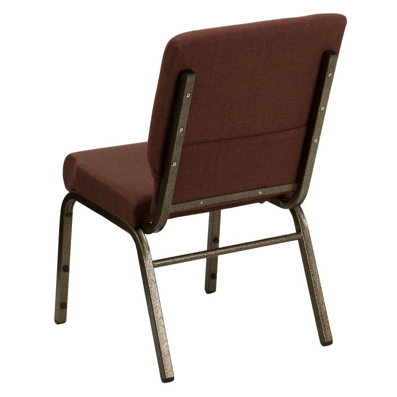 Flash Furniture HERCULES Series 18.5'' Brown Fabric Stacking Church Chair with 4.25'' Thick Seat in Gold Vein Frame