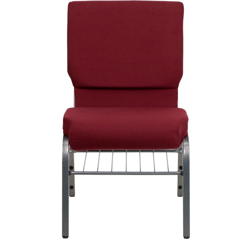 Flash Furniture HERCULES Series 18.5''W Burgundy Fabric Church Chair with 4.25'' Thick Seat' Book Rack in Silver Vein Frame
