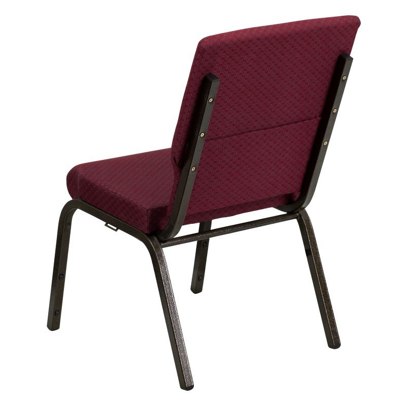 Flash Furniture HERCULES Series 18.5''W Burgundy Patterned Fabric Stacking Church Chair with 4.25'' Thick Seat in Gold Vein Frame