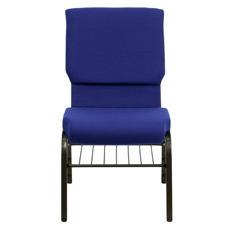 Flash Furniture HERCULES Series 18.5''W Navy Blue Fabric Church Chair with 4.25'' Thick Seat' Book Rack in Gold Vein Frame