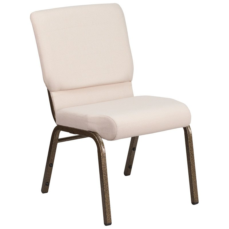 """Flash Furniture HERCULES Series 18.5""""W Beige Fabric Stacking Church Chair with 4.25"""" Thick Seat - Gold Vein Frame (FD-CH02185-GV-B2-GG)"""