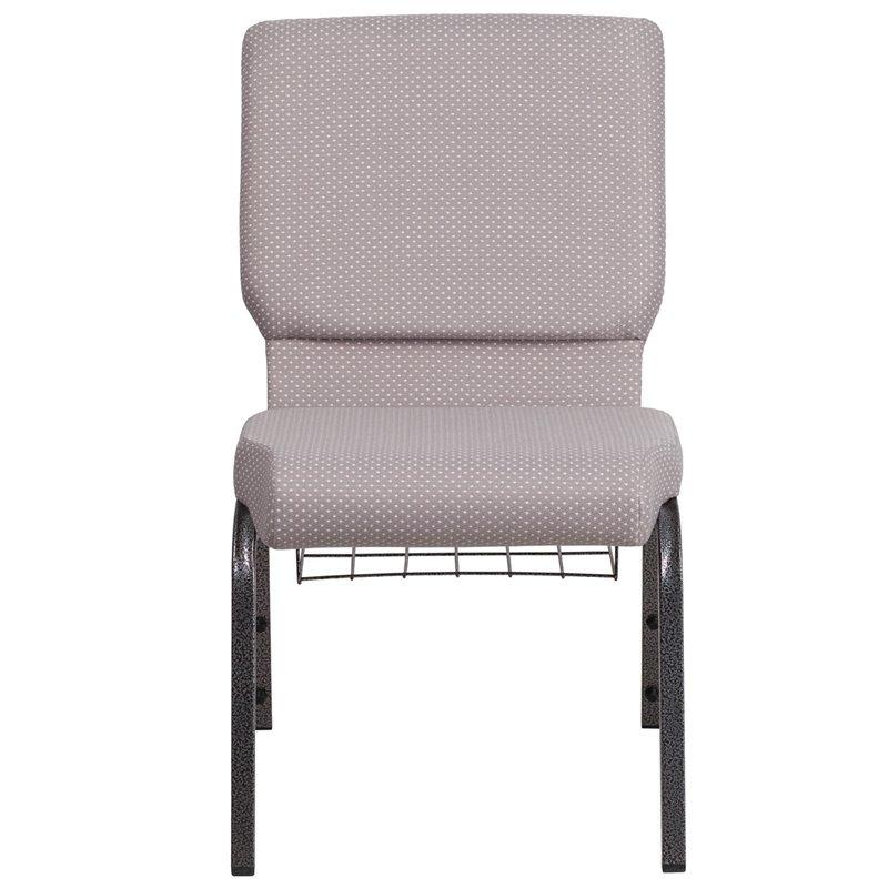 "Flash Furniture HERCULES Series 18.5""W Gray Dot Fabric Church Chair with 4.25"" Thick Seat - Book Rack - Silver Vein Frame (FD-CH02185-SV-GYDOT-BAS-GG)"