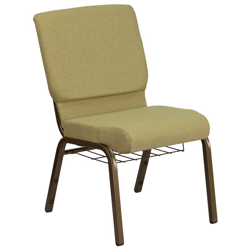 """Flash Furniture HERCULES Series 18.5""""W Moss Green Fabric Church Chair with 4.25"""" Thick Seat - Cup Book Rack - Gold Frame (FD-CH02185-GV-GN-BAS-GG)"""