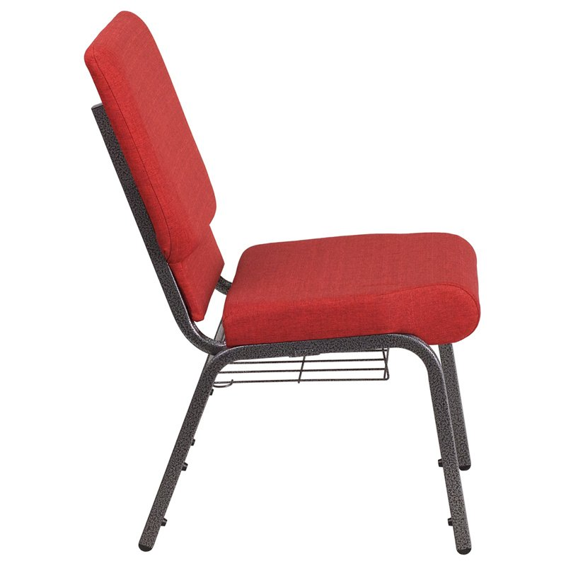 """Flash Furniture HERCULES Series 18.5""""W Red Fabric Church Chair with 4.25"""" Thick Seat - Cup Book Rack - Silver Vein Frame (FD-CH02185-SV-RED-BAS-GG)"""