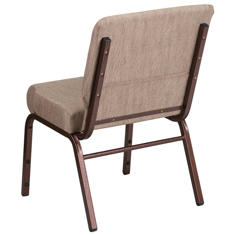"""Flash Furniture HERCULES Series 21"""" Extra Wide Beige Fabric Stacking Church Chair with 4"""" Thick Seat - Copper Vein Frame (FD-CH0221-4-CV-BGE1-GG)"""