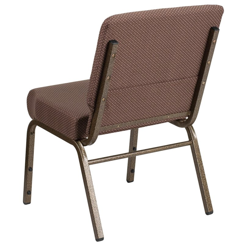 """Flash Furniture HERCULES Series 21"""" Extra Wide Brown Dot Fabric Stacking Church Chair with 4"""" Thick Seat - Gold Vein Frame (FD-CH0221-4-GV-BNDOT-GG)"""