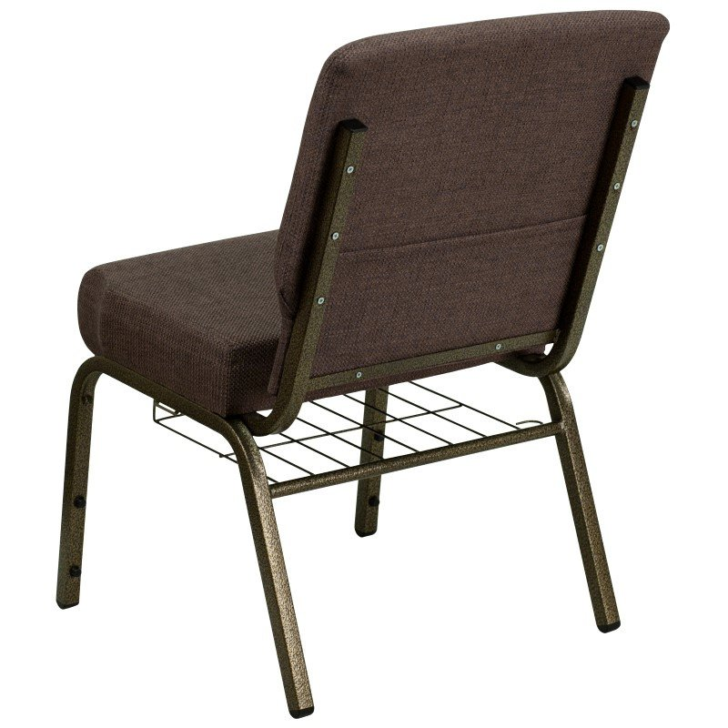 Flash Furniture HERCULES Series 21'' Extra Wide Brown Fabric Church Chair with 4'' Thick Seat' Communion Cup Book Rack in Gold Vein Frame