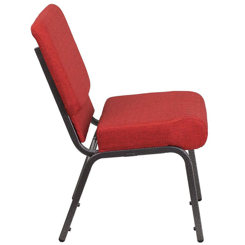 """Flash Furniture HERCULES Series 21"""" Extra Wide Crimson Fabric Stacking Church Chair with 4"""" Thick Seat - Silver Vein Frame (FD-CH0221-4-SV-RED-GG)"""