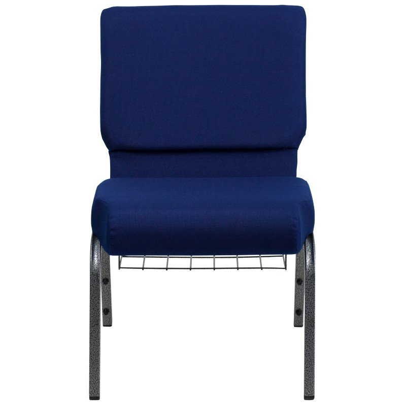 Flash Furniture HERCULES Series 21'' Extra Wide Navy Blue Fabric Church Chair with 4'' Thick Seat' Communion Cup Book Rack in Silver Vein Frame