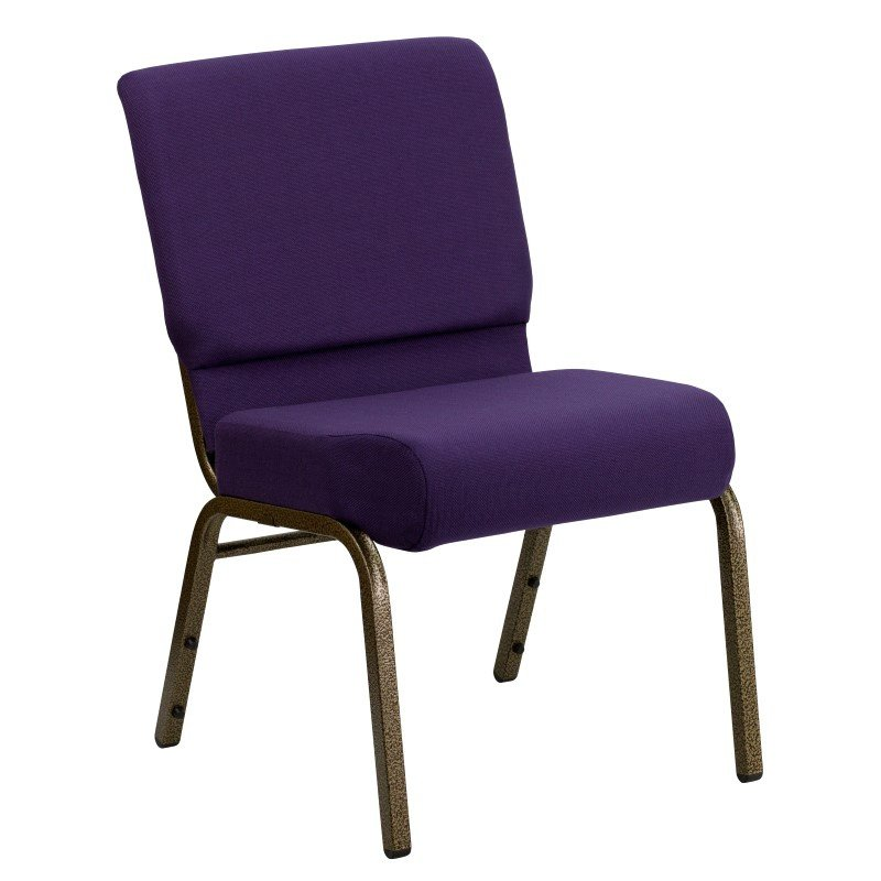 Flash Furniture HERCULES Series 21'' Extra Wide Royal Purple Fabric Stacking Church Chair with 4'' Thick Seat in Gold Vein Frame
