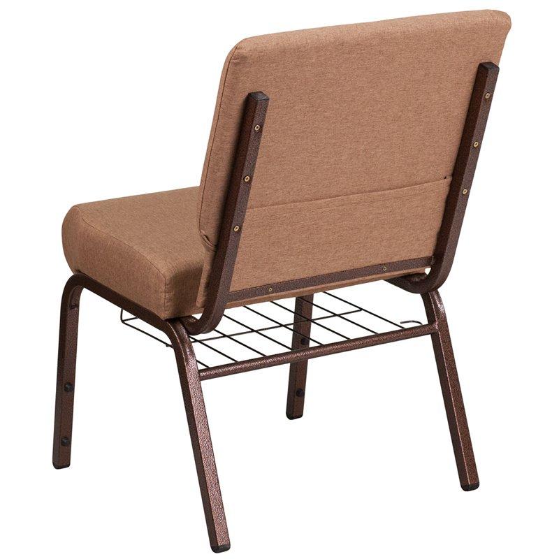 "Flash Furniture HERCULES Series 21"" Wide Caramel Fabric Church Chair with 4"" Thick Seat - Cup Book Rack - Copper Vein Frame (FD-CH0221-4-CV-BN-BAS-GG)"