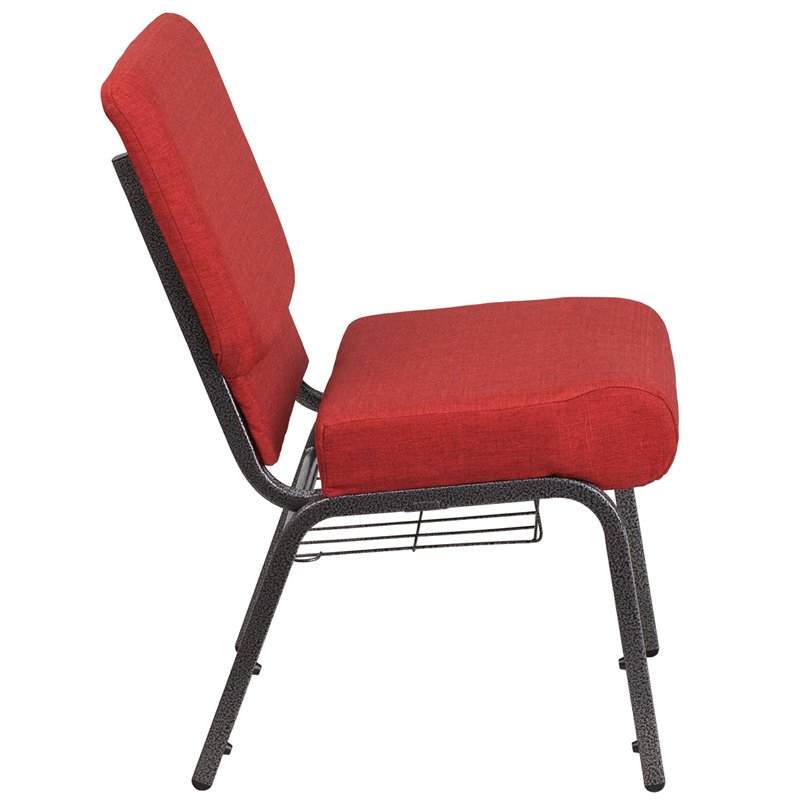 """Flash Furniture HERCULES Series 21"""" Wide Crimson Fabric Church Chair with 4"""" Thick Seat - Cup Book Rack - Silver Frame (FD-CH0221-4-SV-RED-BAS-GG)"""