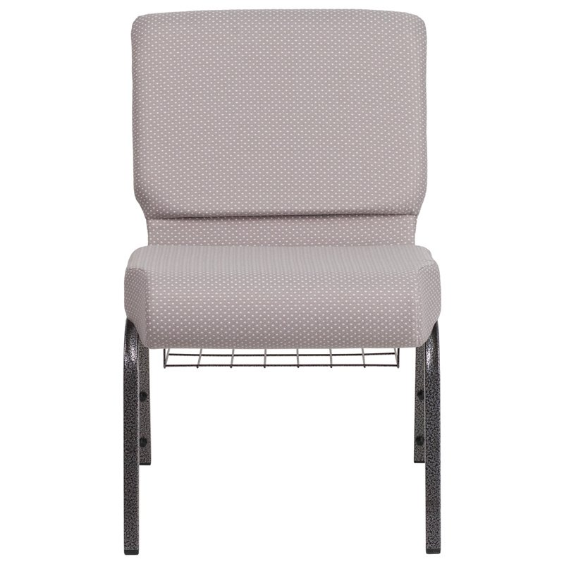 "Flash Furniture HERCULES Series 21"" Wide Gray Dot Fabric Church Chair with 4"" Thick Seat - Book Rack - Silver Vein Frame (FD-CH0221-4-SV-GYDOT-BAS-GG)"