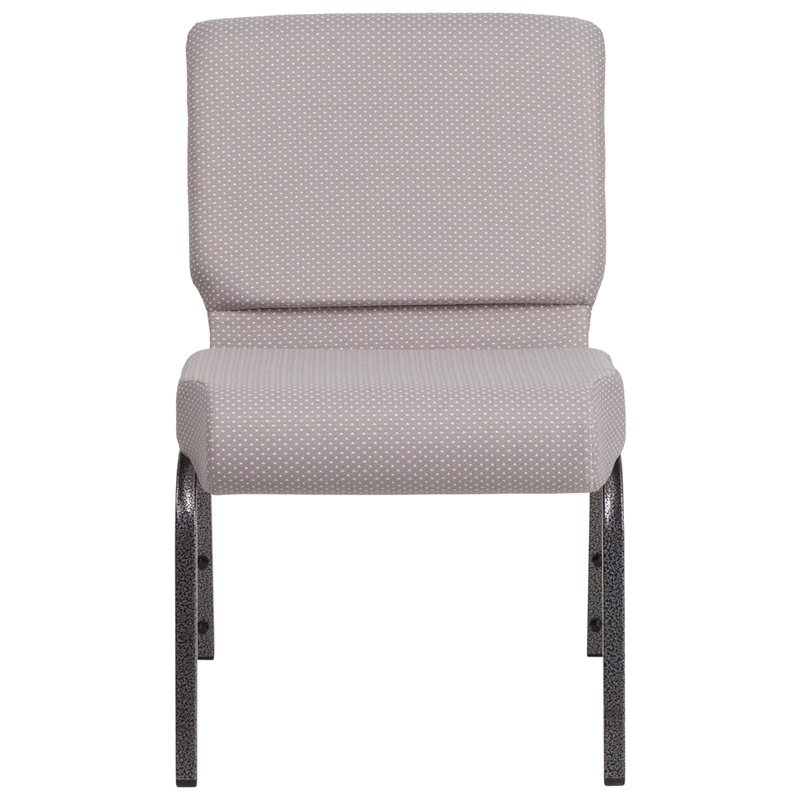 """Flash Furniture HERCULES Series 21"""" Wide Gray Dot Fabric Stacking Church Chair with 4"""" Thick Seat - Silver Vein Frame (FD-CH0221-4-SV-GYDOT-GG)"""
