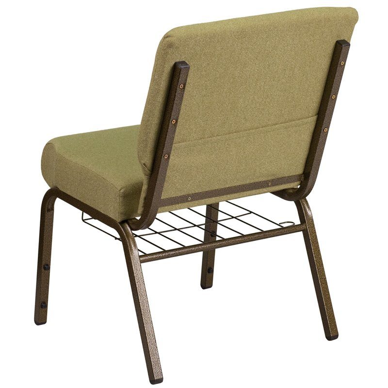 """Flash Furniture HERCULES Series 21"""" Wide Moss Green Fabric Church Chair with 4"""" Thick Seat - Cup Book Rack - Gold Frame (FD-CH0221-4-GV-GN-BAS-GG)"""
