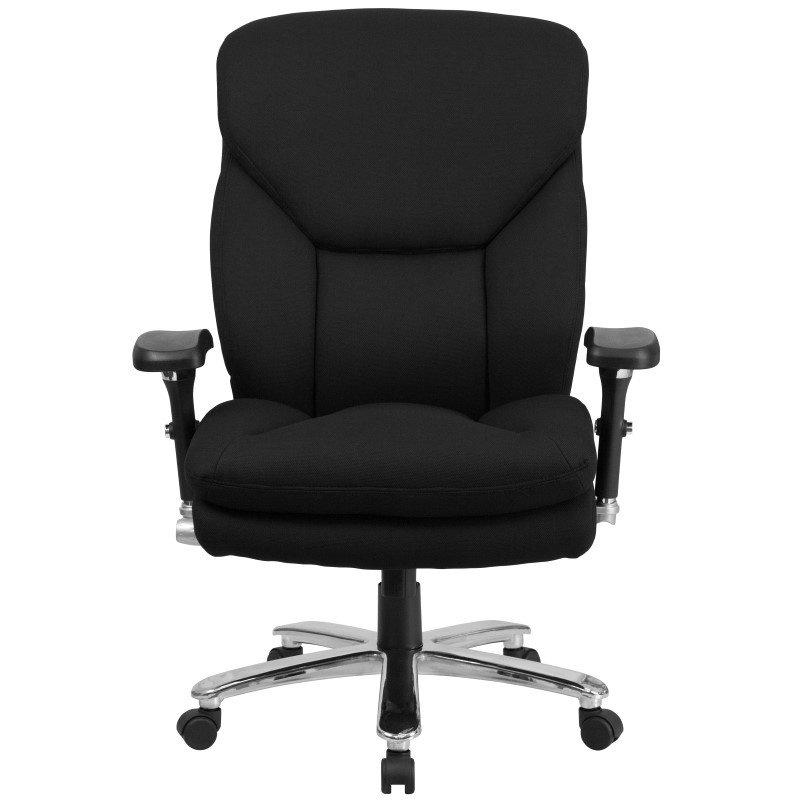 Flash Furniture HERCULES Series 24/7 Intensive Use' Multi-Shift Big & Tall 400 lb. Capacity Black Fabric Executive Swivel Chair w/ Lumbar Support Knob