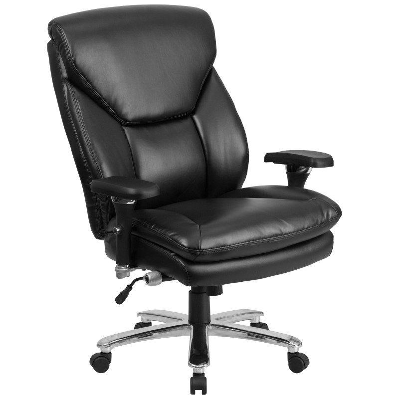Flash Furniture HERCULES Series 24/7 Intensive Use Multi-Shift' Big & Tall 400 lb Capacity Black Leather Executive Swivel Chair w/ Lumbar Support Knob