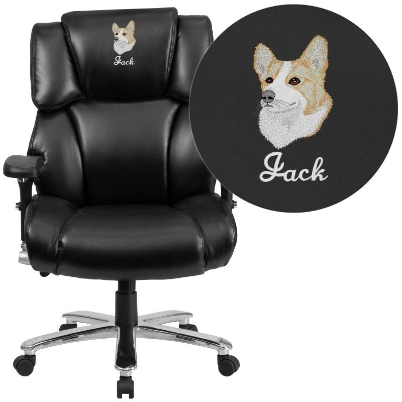 Flash Furniture HERCULES Series 24/7 Intensive Use' Multi-Shift' Big & Tall 400 lbCapacity Black Leather Executive Swivel Chair w/ Lumbar Support Knob
