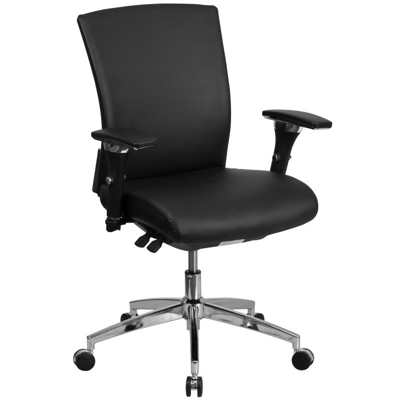 Flash Furniture HERCULES Series 24/7 Multi-Shift 300 lb. Capacity Black Leather Multi-Functional Executive Swivel Chair with Seat Slider