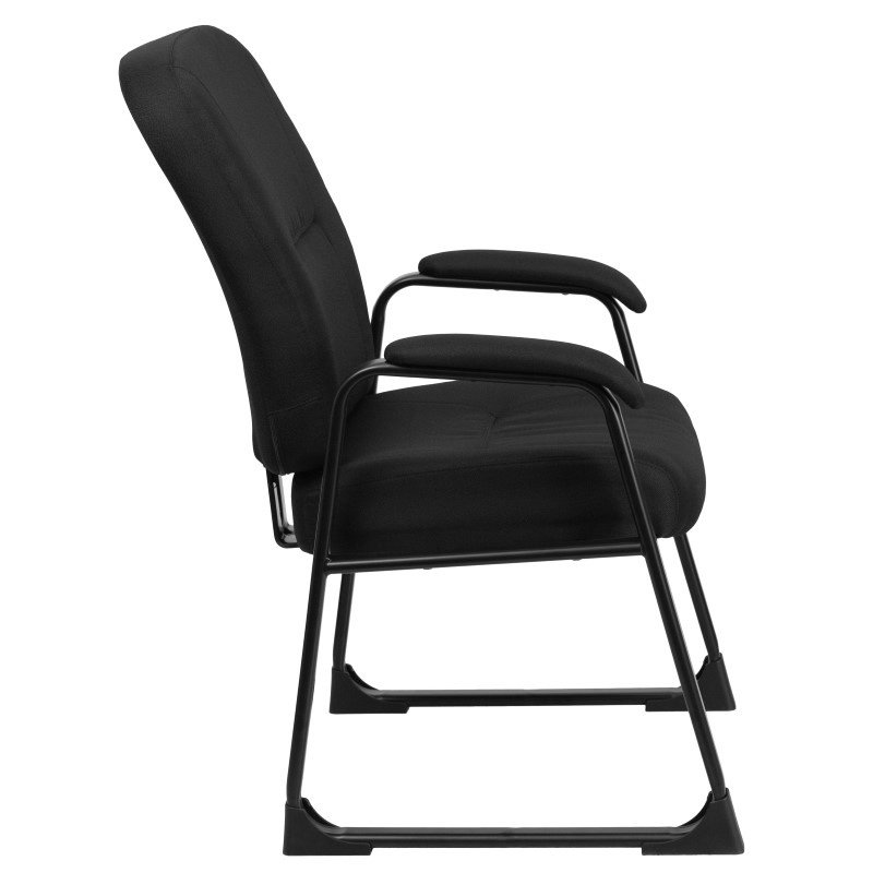 Flash Furniture HERCULES Series 400 lb. Capacity Big & Tall Black Fabric Executive Side Chair with Sled Base