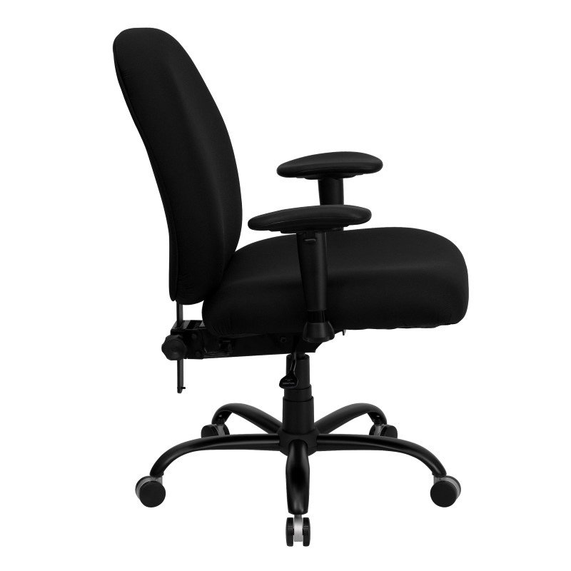Flash Furniture HERCULES Series 400 lb.Capacity Big & Tall Black Fabric Executive Swivel Office Chair with Extra WIDE Seat and Height Adjustable Arms