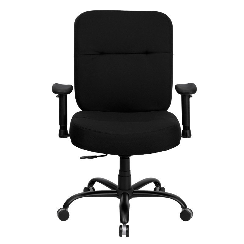 Flash Furniture HERCULES Series 400 lb. Capacity Big & Tall Black Fabric Executive Swivel Office Chair with Extra WIDE Seat and Height Adjustable Arms