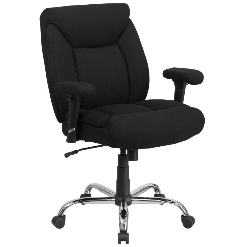Flash Furniture HERCULES Series 400 lb. Capacity Big & Tall Black Fabric Swivel Task Chair with Height Adjustable Arms