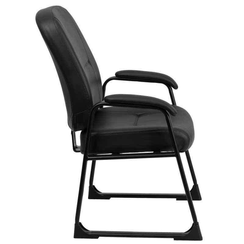 Flash Furniture HERCULES Series 400 lb. Capacity Big & Tall Black Leather Executive Side Chair with Sled Base