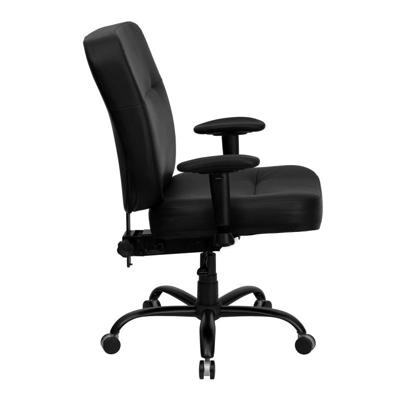 Flash Furniture HERCULES Series 400 lb Capacity Big & Tall Black Leather Executive Swivel Office Chair with Extra WIDE Seat and Height Adjustable Arms