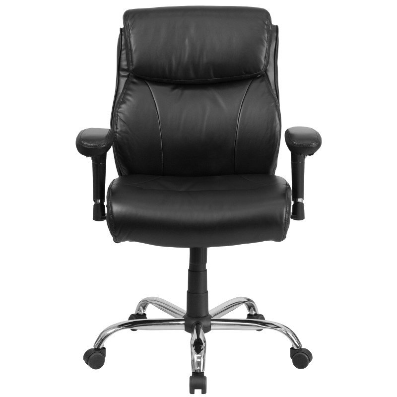 Flash Furniture HERCULES Series 400 lb. Capacity Big & Tall Black-Leather Swivel Task Chair with Height Adjustable Arms