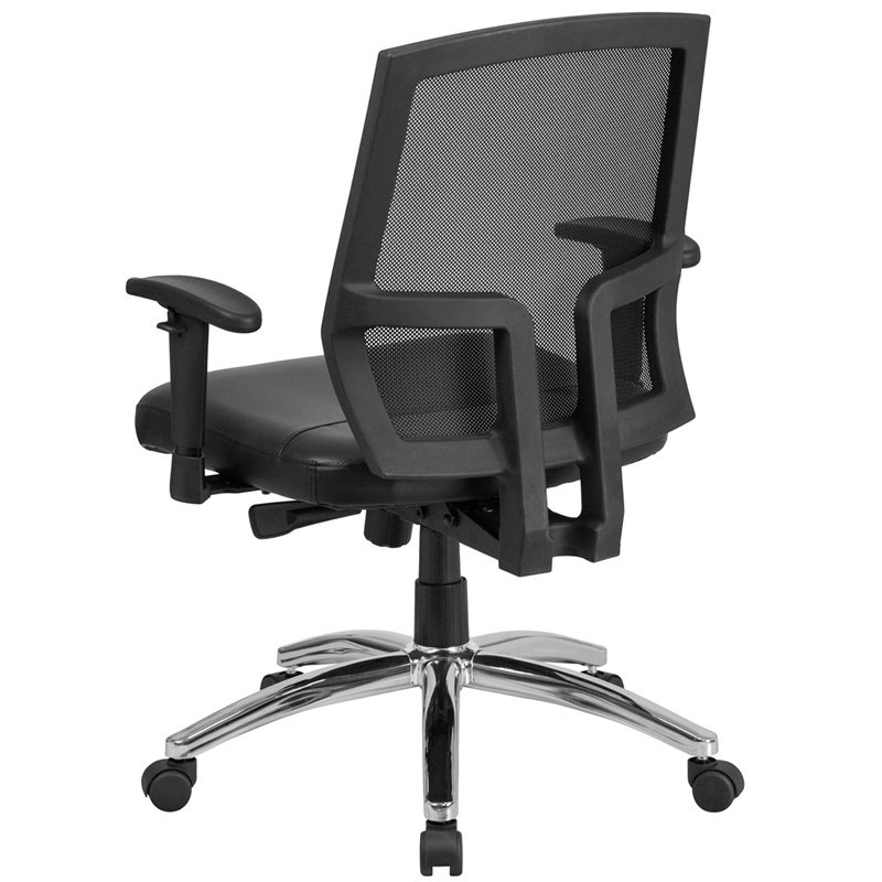 Flash Furniture HERCULES Series 400 lb. Capacity Big & Tall Mesh Mid-Back Executive Swivel Chair with Height Adjustable Arms (CP-A337A01-LEA-GG)