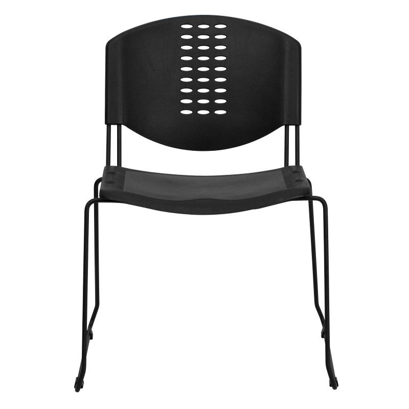 Flash Furniture HERCULES Series 400 lb. Capacity Black Plastic Stack Chair with Black Frame