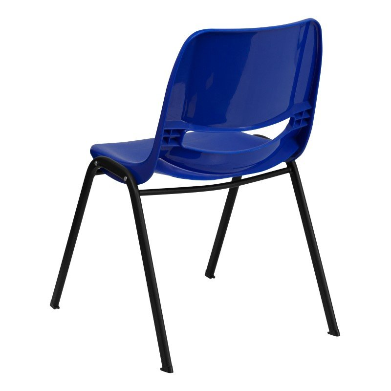 Flash Furniture HERCULES Series 440 lb. Capacity Navy Ergonomic Shell Stack Chair with Black Frame and 14'' Seat Height