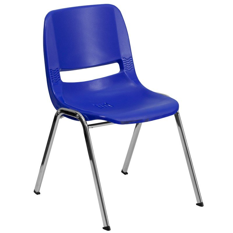 Flash Furniture HERCULES Series 440 lb. Capacity Navy Ergonomic Shell Stack Chair with Chrome Frame and 12'' Seat Height