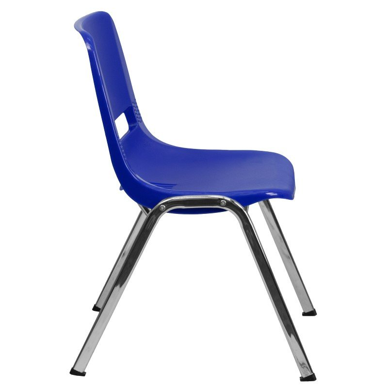 Flash Furniture HERCULES Series 440 lb. Capacity Navy Ergonomic Shell Stack Chair with Chrome Frame and 14'' Seat Height