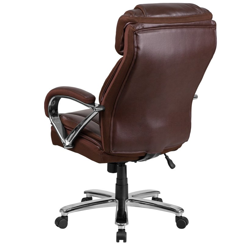 Flash Furniture HERCULES Series 500 lb. Capacity Big & Tall Brown Leather Executive Swivel Office Chair with Extra Wide Seat (GO-2092M-1-BN-GG)