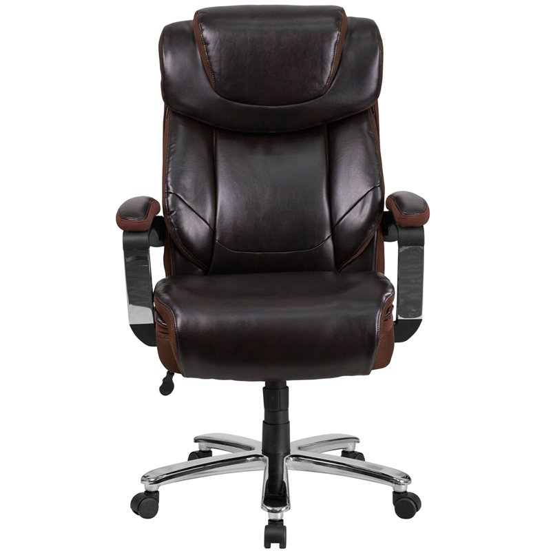 Flash Furniture HERCULES Series 500 lb. Capacity Big & Tall Brown Leather Executive Swivel Office Chair w/ Height Adjustable Headrest (GO-2223-BN-GG)