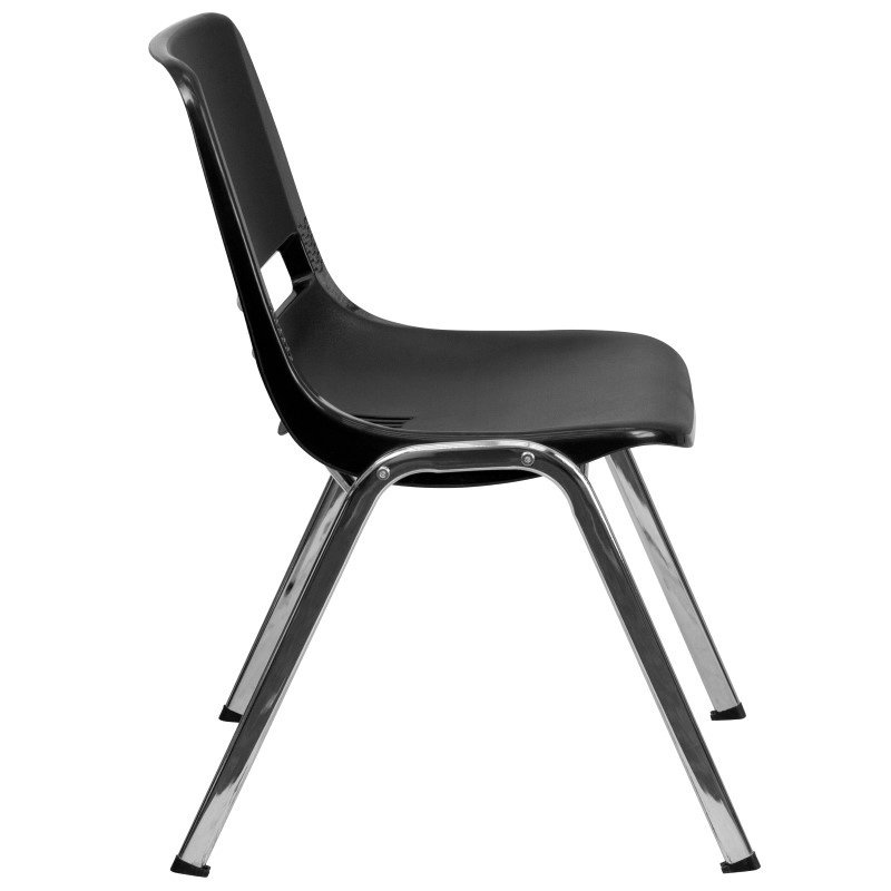 Flash Furniture HERCULES Series 661 lb. Capacity Black Ergonomic Shell Stack Chair with Chrome Frame and 16'' Seat Height