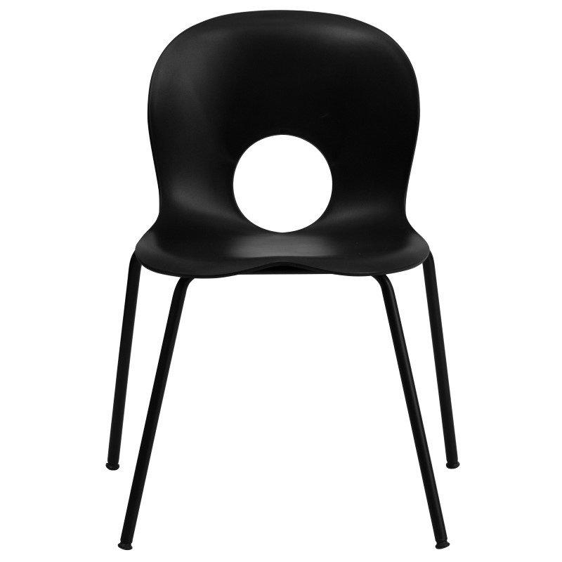 Flash Furniture HERCULES Series 770 lb. Capacity Designer Black Plastic Stack Chair with Black Frame