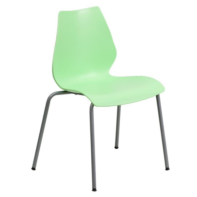 Flash Furniture HERCULES Series 770 lb. Capacity Green Stack Chair with Lumbar Support and Silver Frame
