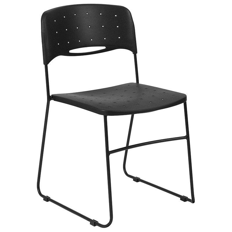 Flash Furniture HERCULES Series 771 lb. Capacity Black Sled Base Stack Chair with Air-Vent Seat (RUT-NC558A-BK-GG)