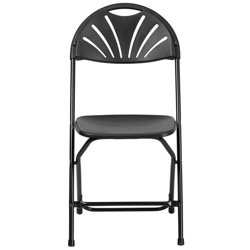Flash Furniture HERCULES Series 800 lb. Capacity Black Plastic Fan Back Folding Chair (LE-L-4-BK-GG)
